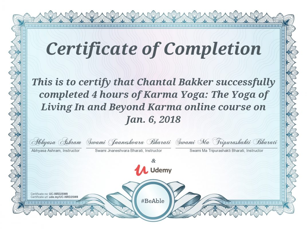 Karma Yoga Certificate - Chantal Bakker