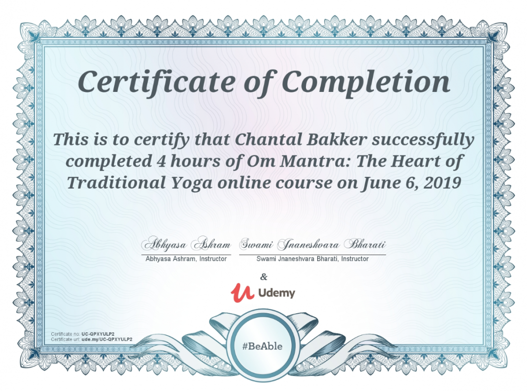 Certificaat Om Mantra - Ayurveda Wandelcoaching