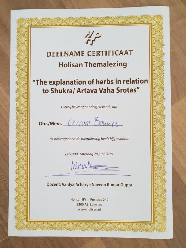 Certificaat bijscholing Voortplantingsorganen Ayurveda - Ayurveda Wandelcoaching