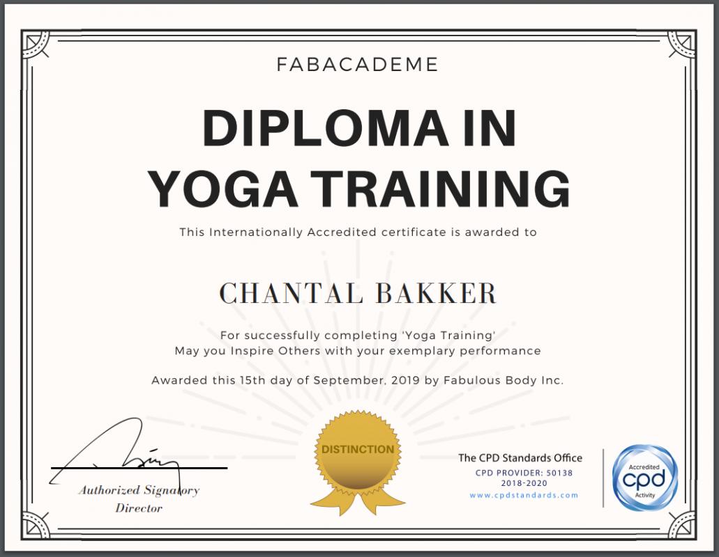 Diploma Yoga Docent - Chantal Bakker - Ayurveda Wandelcoaching